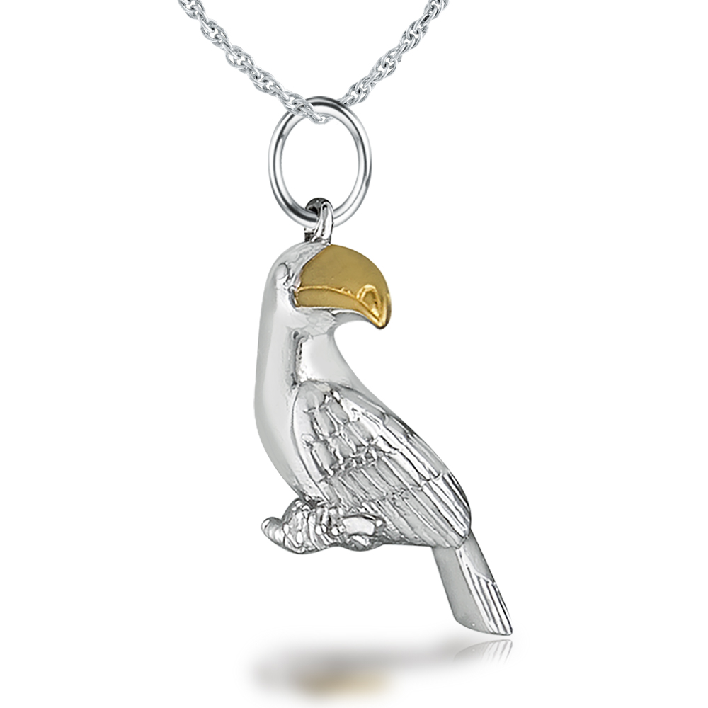Toucan Necklace, Sterling Silver with Gold Vermeil Beak
