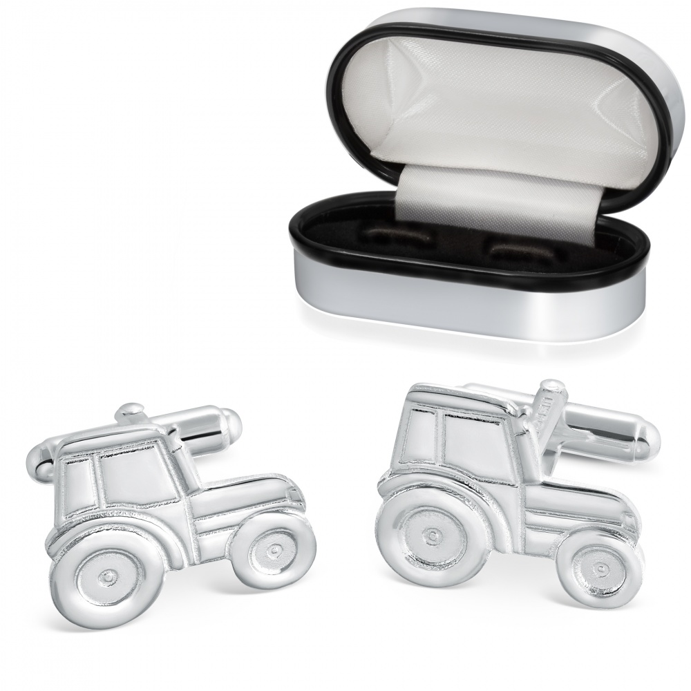 Tractor Cufflinks, Sterling Silver, Personalised Box, Hallmarked