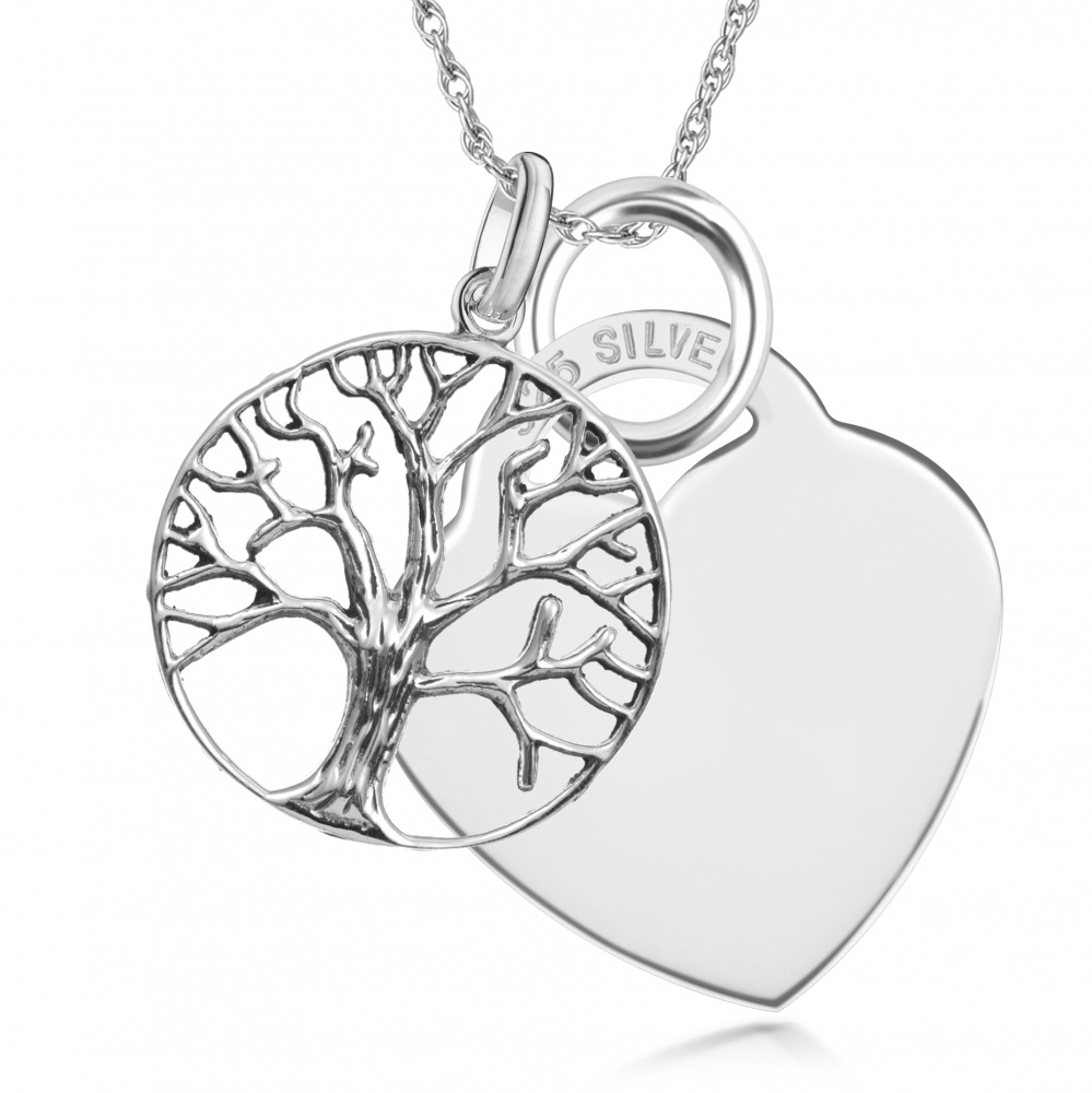 Tree of Life, with Heart Necklace, Personalised, 925 Sterling Silver