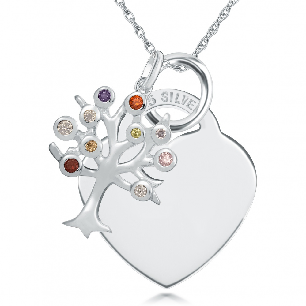 Tree of Life with Heart Sterling Silver Necklace (can be personalised)