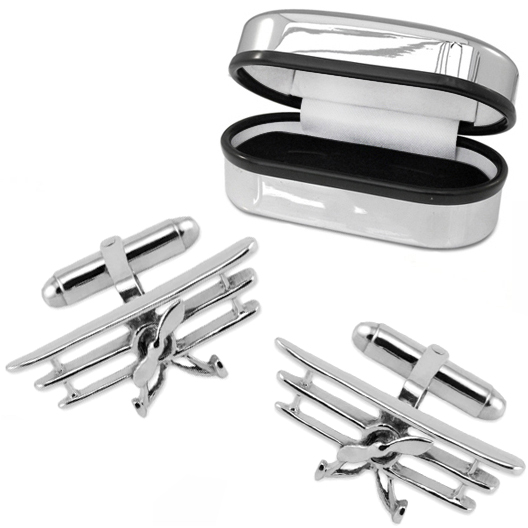 Triplane Cufflinks, 925 Sterling Silver (can be personalised)