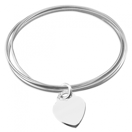 Ladies Triple Russian Flat Slave Sterling Silver Bangles with Heart (can be personalised)