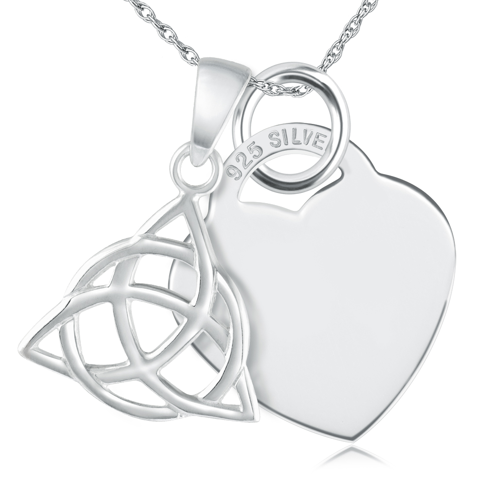 Triquetra & Heart 925 Solid Silver Necklace/Pendant Personalised/Engraved