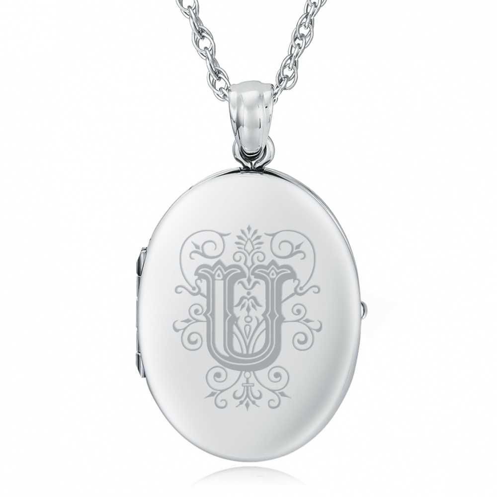 Initial/Letter U Sterling Silver 2 Photo Locket (can be personalised)