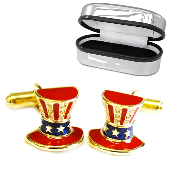 Uncle Sam Hat Cufflinks, Gold Plated, Enamel & Crystals (can be personalised)