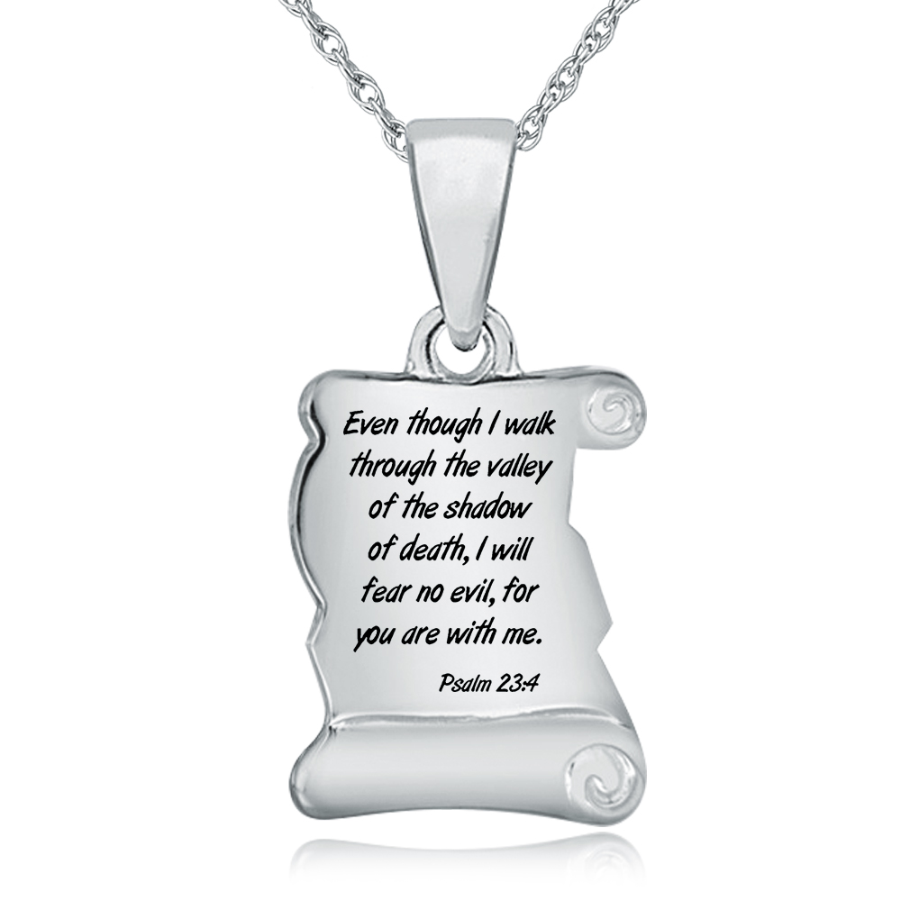 Psalm 23:4 Scroll Necklace, Personalised / Engraved, 925 Sterling Silver
