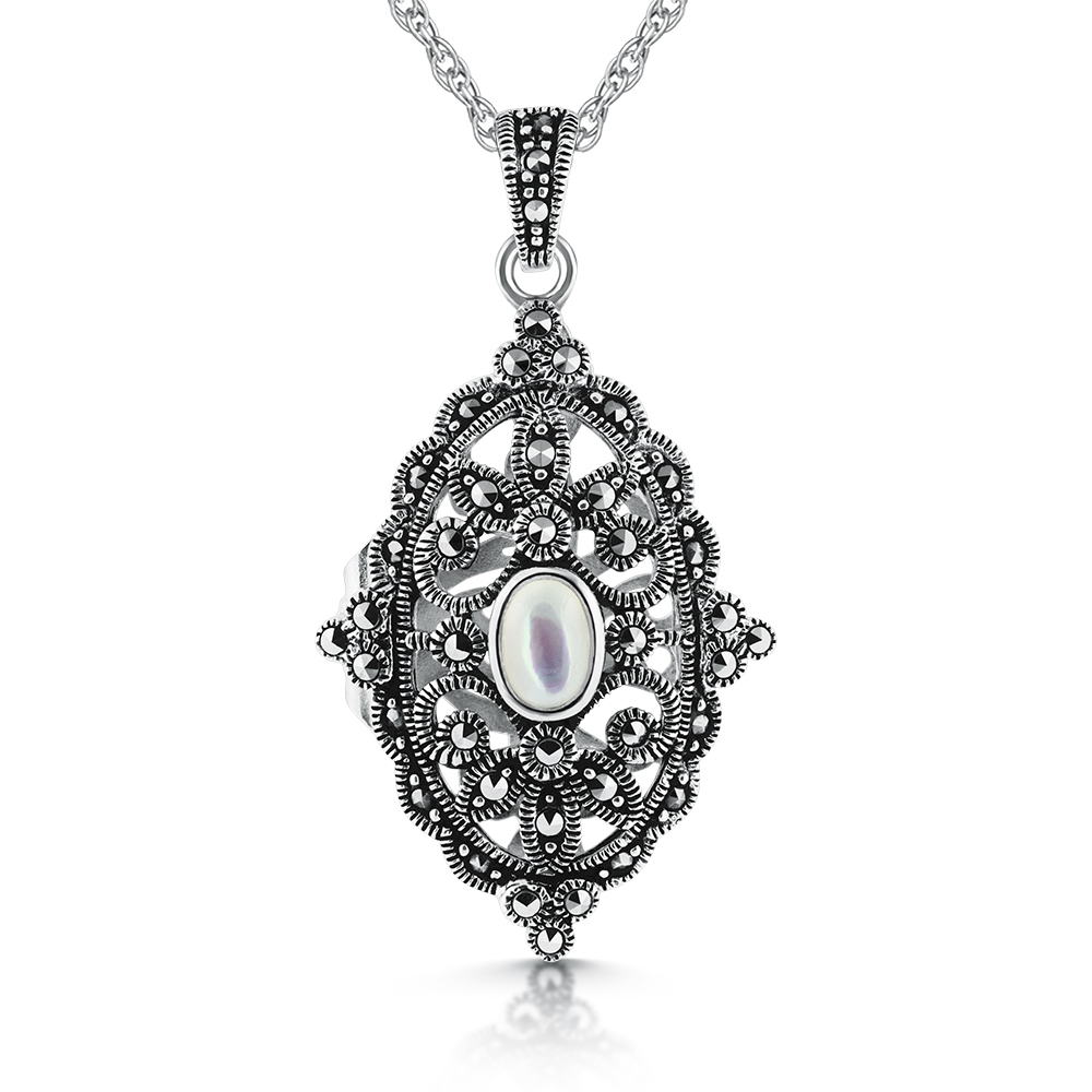 Victorian Style Locket, Mother of Pearl, Marcasite & Sterling Silver