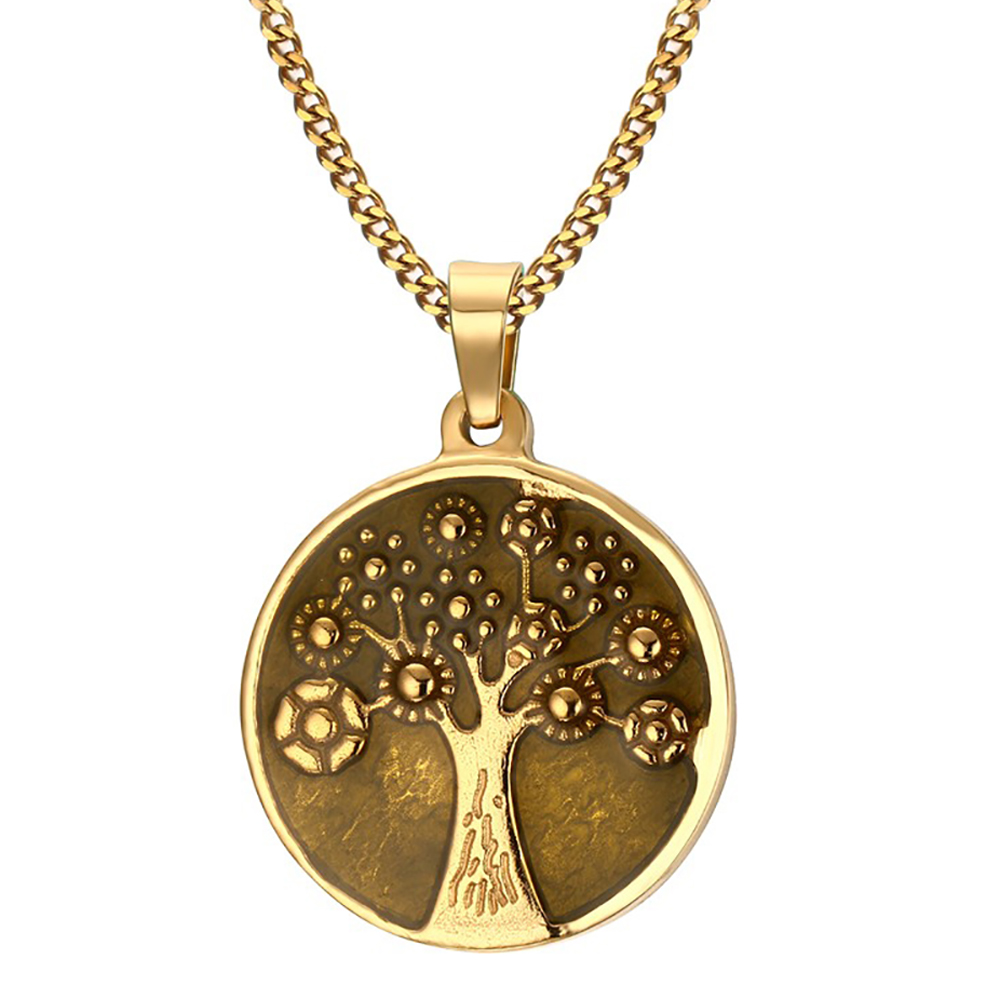 Tree of Life Necklace, with Personalisation, Yellow Gold, Vintage Style