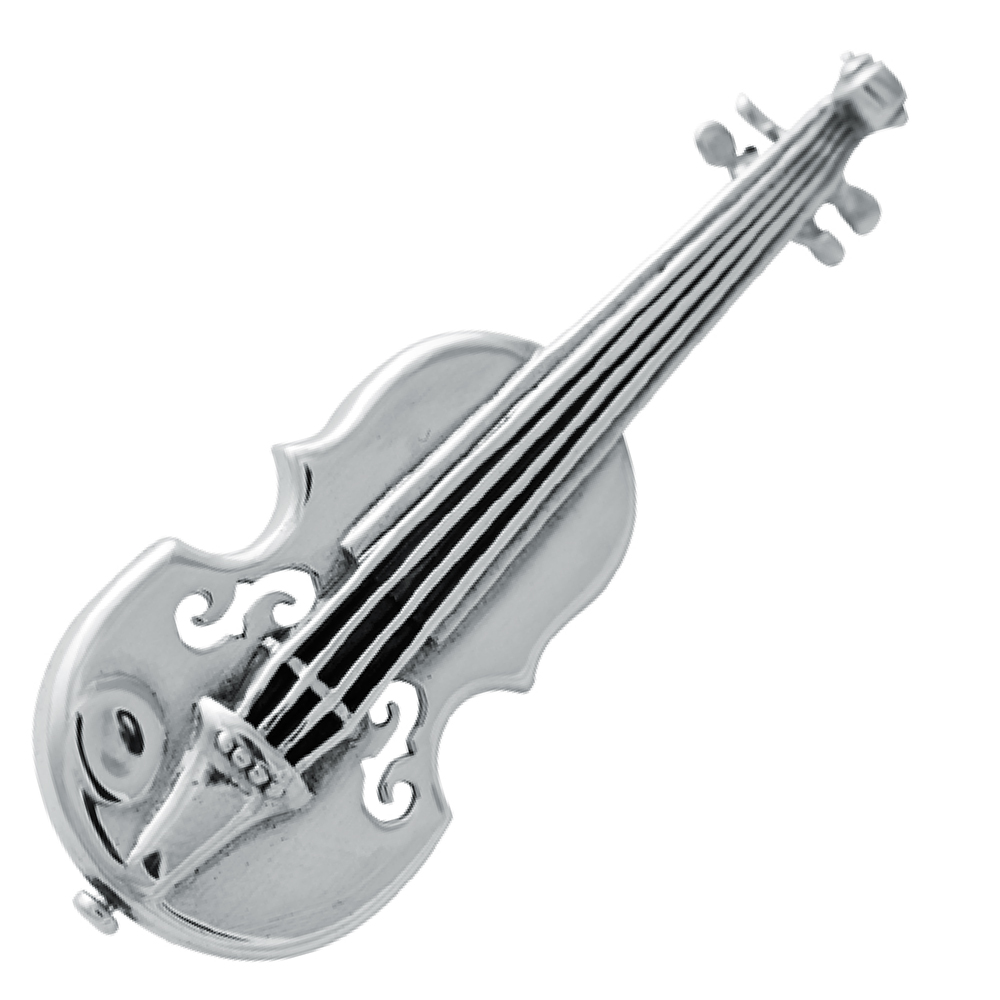 Violin Brooch, 925 Sterling Silver Hallmarked