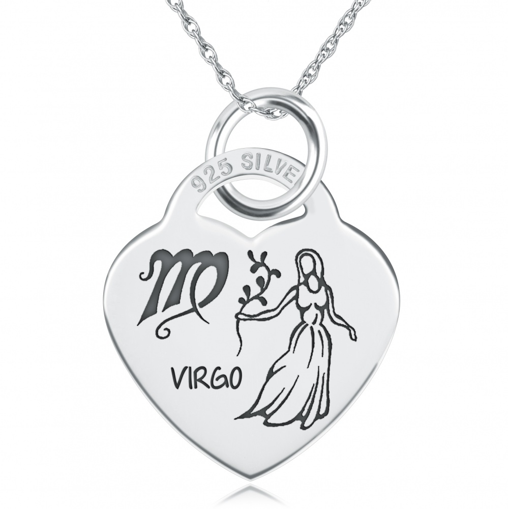 Virgo Star Sign Heart Shaped Sterling Silver Necklace (can be personalised)
