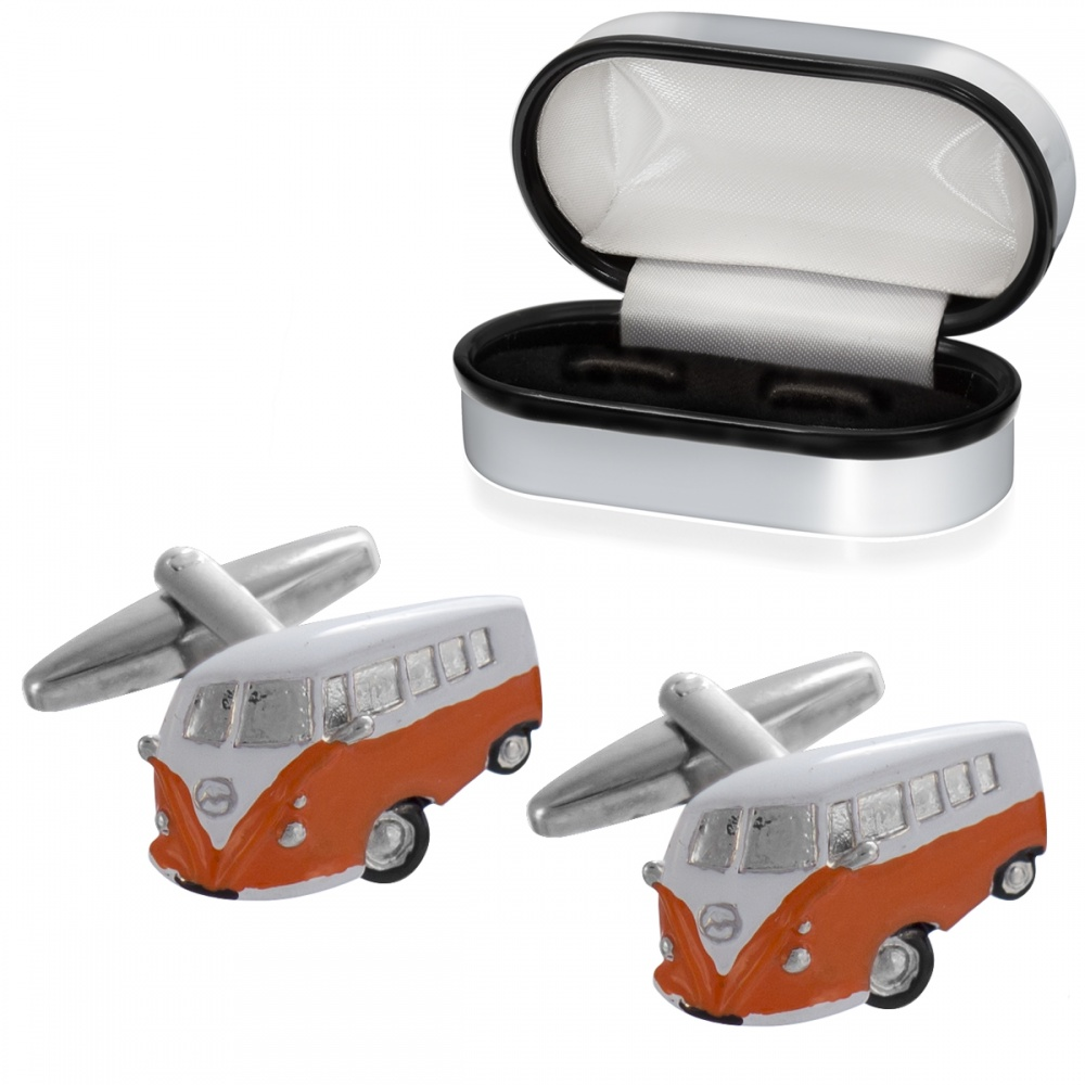 Camper Van Cufflinks, Orange & White (can be personalised)