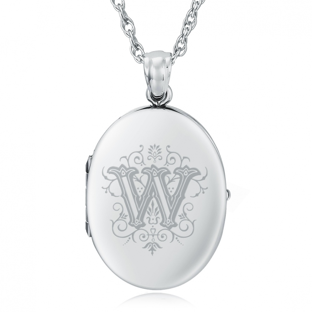 Initial/Letter W Sterling Silver 2 Photo Locket (can be personalised)