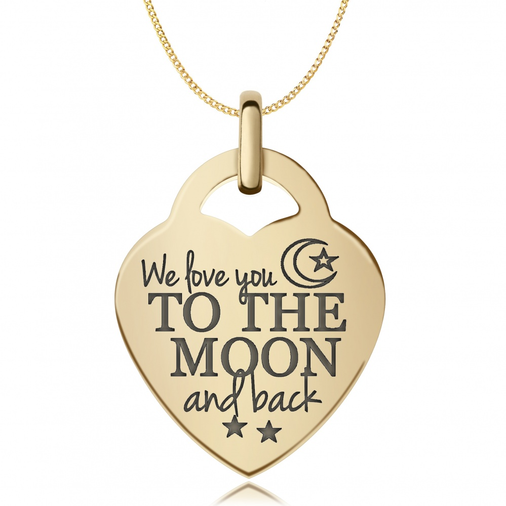 03ea5be618 We Love You To The Moon & Back Necklace, 9ct Gold, Personalised ...