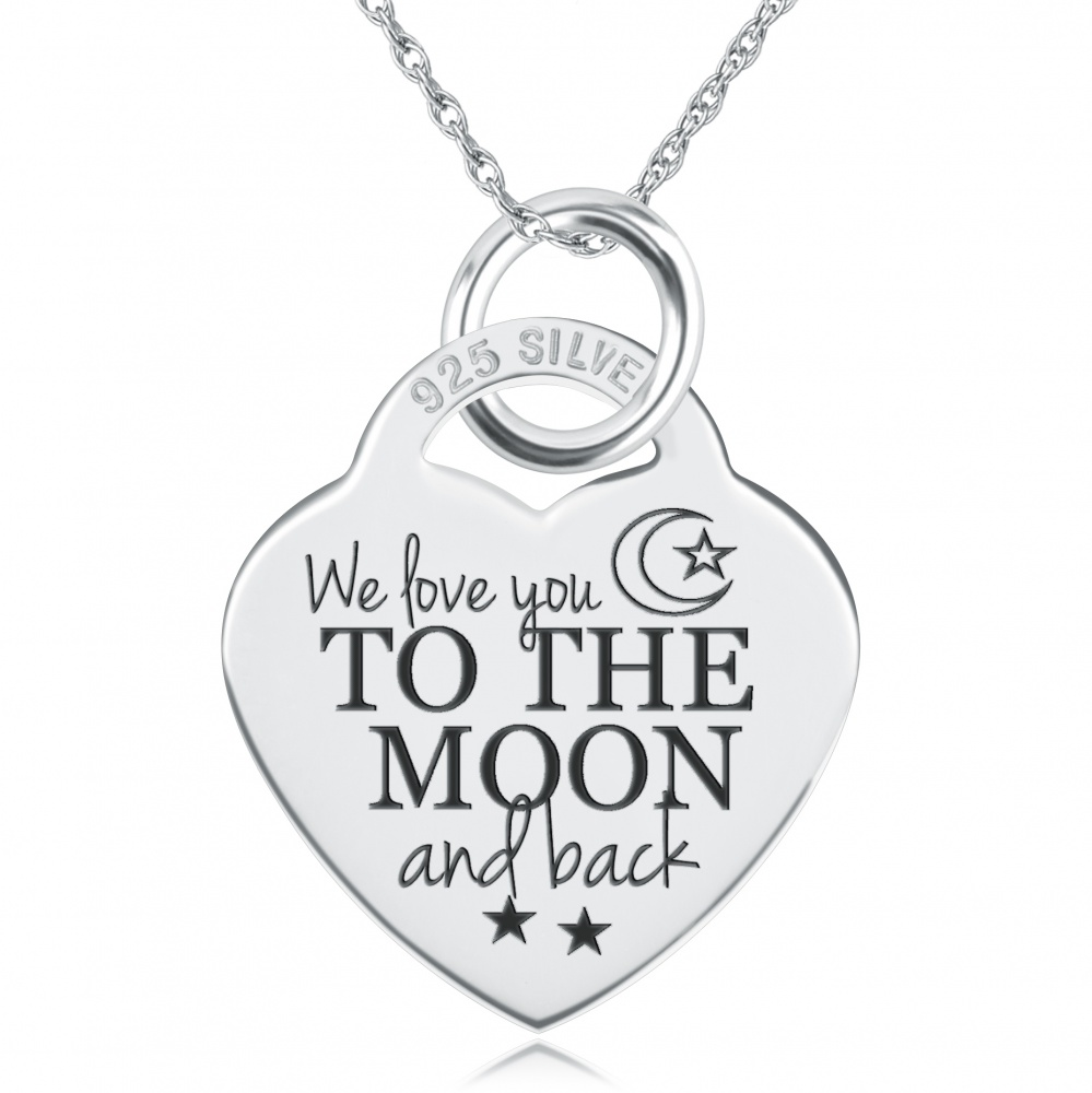 We love you to the moon back necklace personalised sterling silver mozeypictures Images