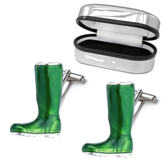 Wellington Boot Cufflinks, Green Enamel & 925 Sterling Silver (can be personalised)