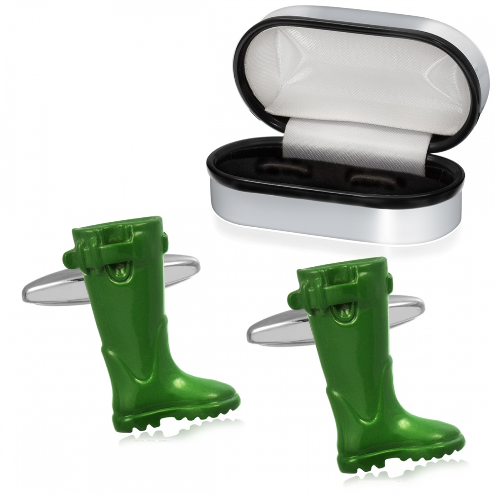 Wellington Boots Cufflinks Personalised, Green, Wellie