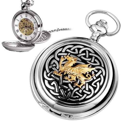 Welsh Dragon Pocket Watch, Personalised Mechanical Skeleton Movement