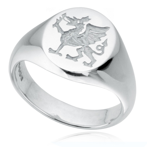 Welsh Dragon Signet Ring, 925 Sterling Silver, Hallmarked