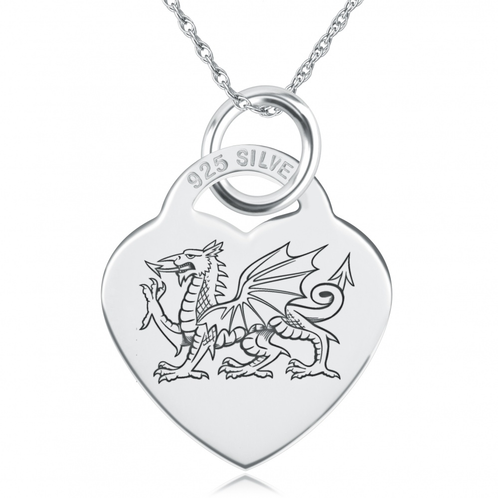Welsh Dragon Heart Shaped Sterling Silver Necklace (can be personalised)