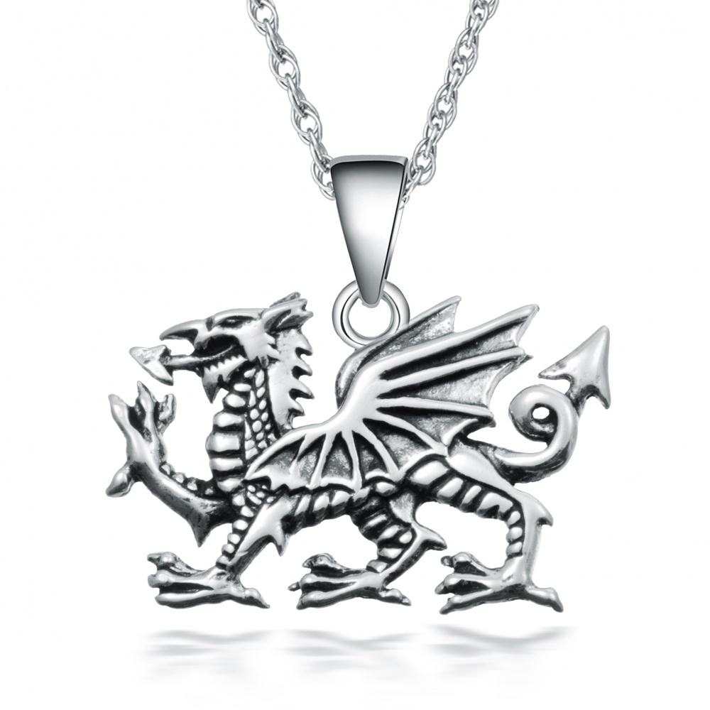 Welsh Dragon Necklace, Sterling Silver