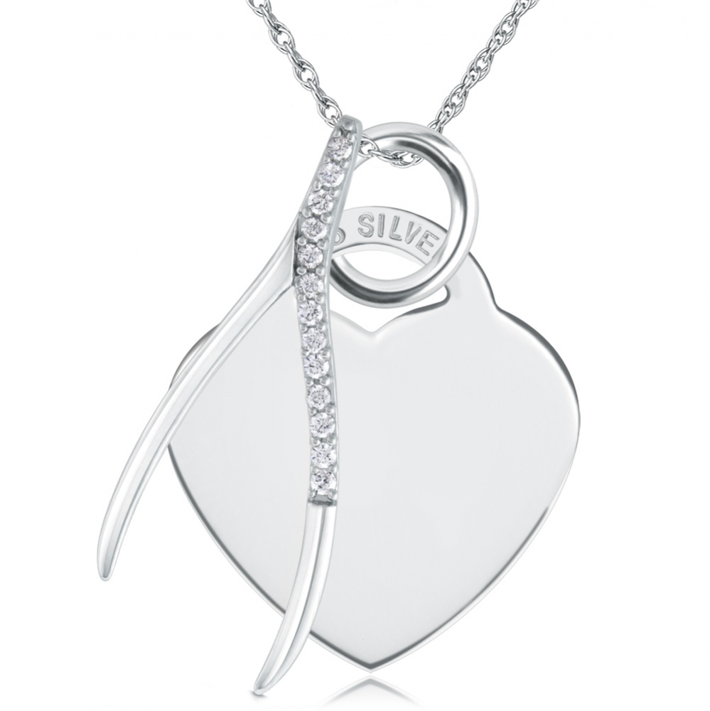 Wishbone Cubic Zirconia & Sterling Silver Heart Necklace (can be personalised)
