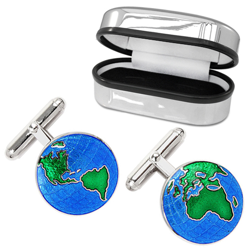 World Map Cufflinks Sterling Silver, Vitreous Enamel (can be personalised)