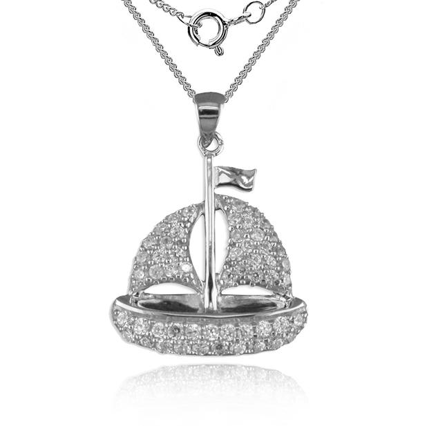 Yacht Necklace, Cubic Zirconia & Sterling Silver