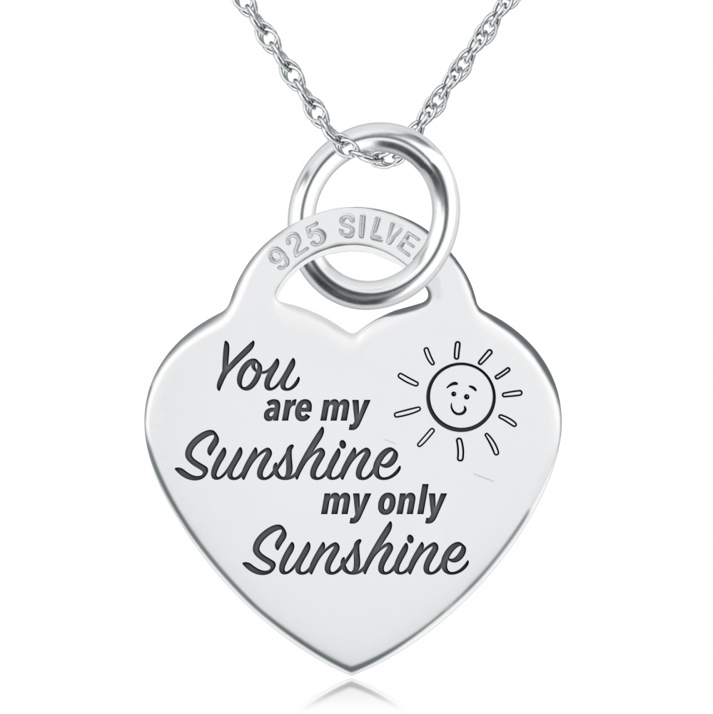 You Are My Sunshine My Only Sunshine Necklace Personalised 925