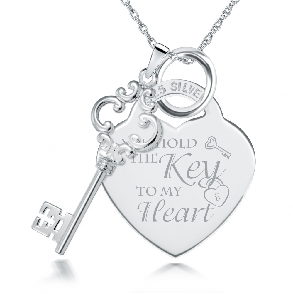 You Hold the Key to My Heart Sterling Silver Necklace (can be personalised)