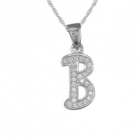 Girls Initial/Letter B Necklace Cubic Zirconia & Sterling Silver