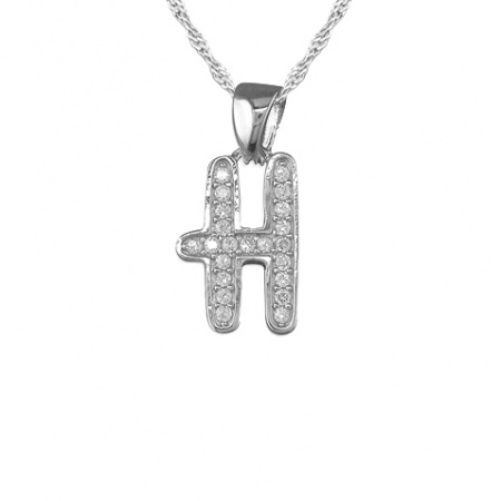 Girls Initial/Letter H Necklace Cubic Zirconia & Sterling Silver