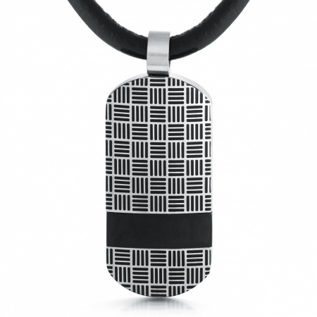 Lined Pattern Dog Tag, Personalised, Stainless Steel, Leather