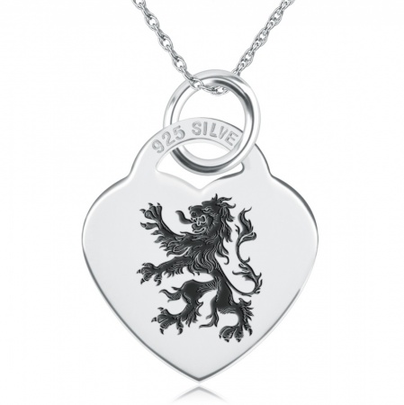 Lion Rampant Necklace, Personalised, 925 Sterling Silver