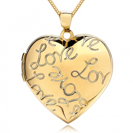 Love Heart Engraved Locket, Personalised, 9ct Yellow Gold