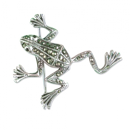 Frog Sterling Silver, Marcasite, with Garnet Eyes Brooch