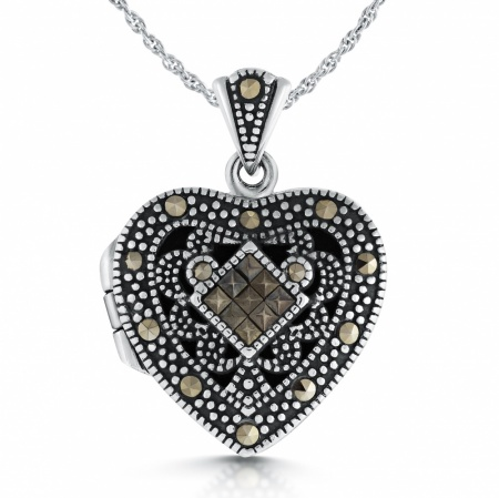 Marcasite Heart Locket, Personalised, Sterling Silver