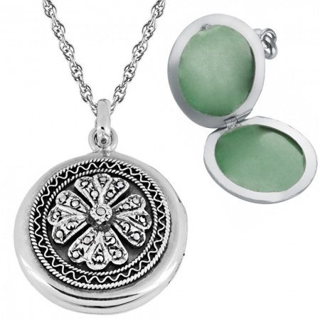 Marcasite Round Locket, Personalised, 925 Sterling Silver