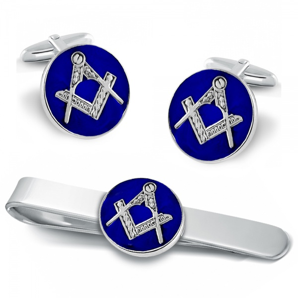 Masonic Craft Square & Compass Cufflink & Tie Slide Set, Sterling Silver