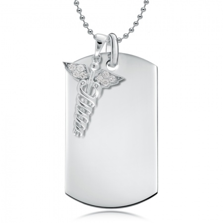 Dog Tag Caduceus (Medical SOS Symbol) - 925 Sterling Silver Personalised/Engraved