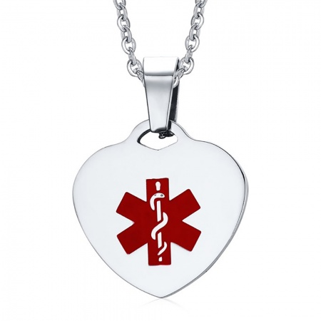 Medical Alert Heart Necklace, with Personalisation, Ladies