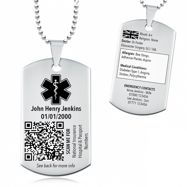 Personalised Medical Alert Necklace, Coronavirus Protection, Medical Information