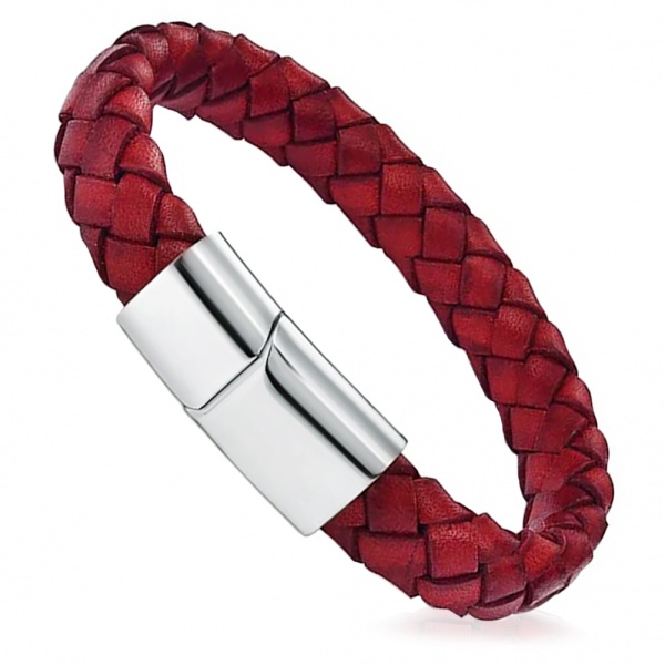 Mens Antique Red Leather Wrap Around Bracelet, with Personalisation