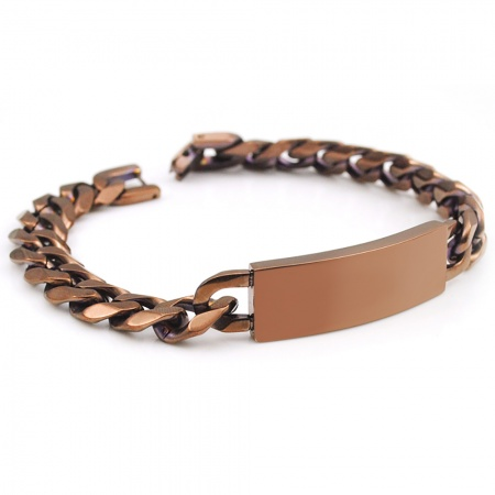 Men's Bronze Colour Identity Bracelet, with Personalisation, 8.5 Inches