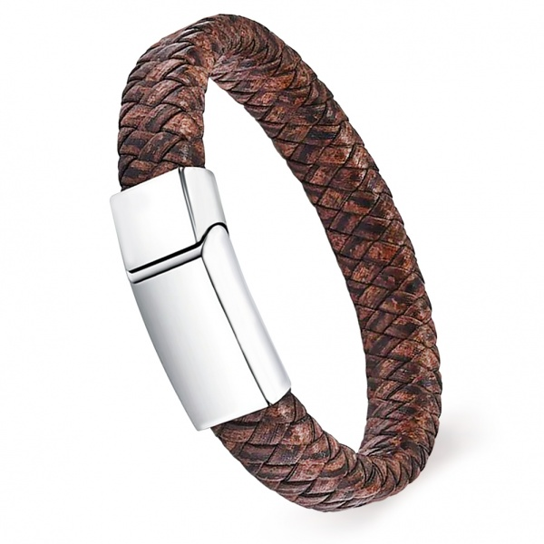 Mens Antique Brown Leather Wrap Around Bracelet, with Personalisation