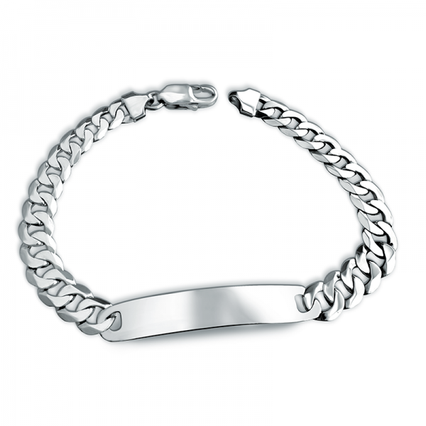 Mens Curb Chain ID Bracelet, Personalised, 925 Sterling Silver