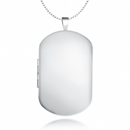 Men's Dog Tag Locket Necklace, Personalised / Engraved, 925 Sterling Silver