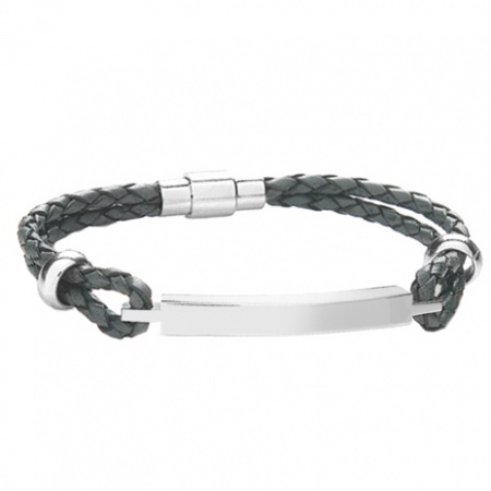 Men's Grey Leather ID Bracelet, Personalised, 8.5 Inches (21.6cm)