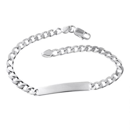 Mens 6mm wide 8.5 inches ID Flat Curb Sterling Silver Bracelet (can be personalised)