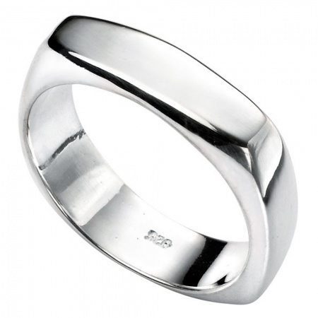Mens Square Rounded Edge Ring, Personalised, Sterling Silver