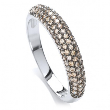 Micro Pave-set Champagne Domed Sterling Silver Ladies Ring Sizes J - Q